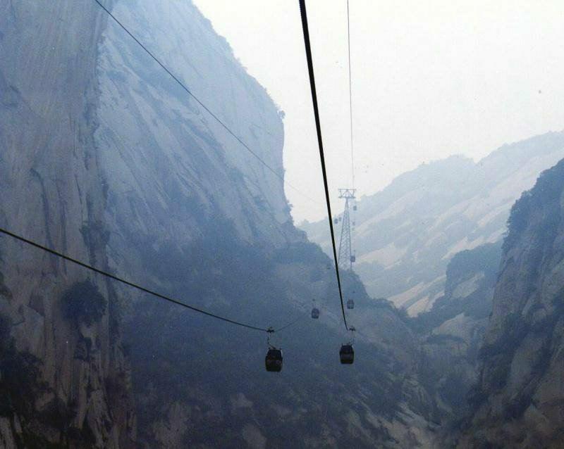 teleférico leva a pico sul da montanha de hua shan