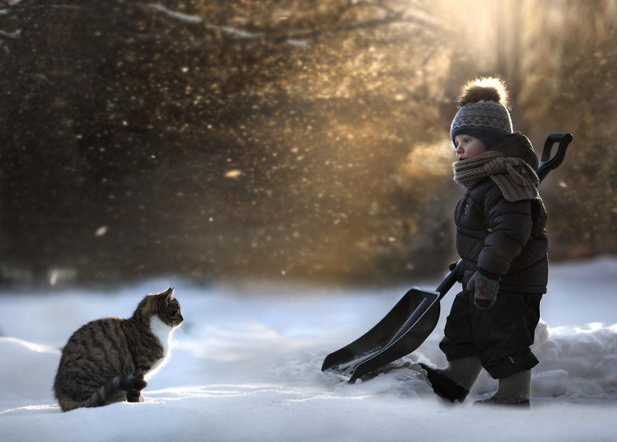animais crianças quinta fotografia Elena Shumilova gato neve