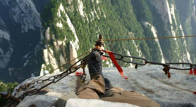 Hua Shan, China, trilho perigoso