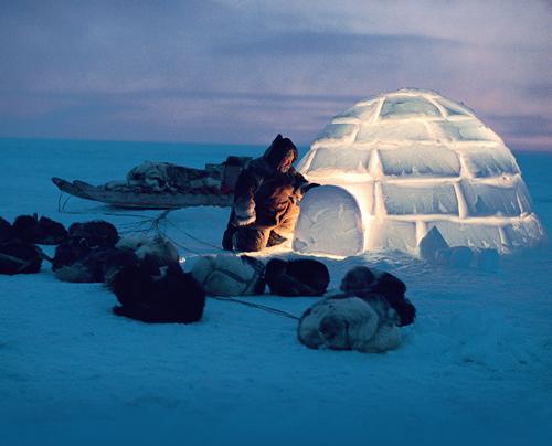 inuit constroi iglu para se proteger do frio