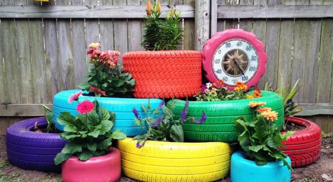 canteiro pneus floreiras flores jardinagem reciclar reutilizar