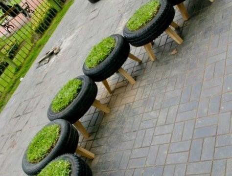 canteiro pneus usados reciclar reutilizar