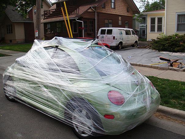 partida dia das mentiras carro filme plástico