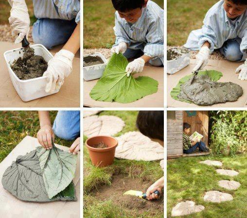 jardim pedras cimento pátio