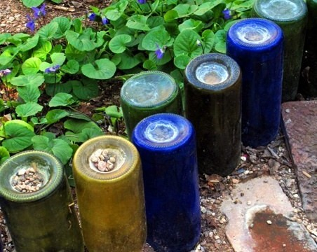 jardim quintal garrafas de vidro vinho