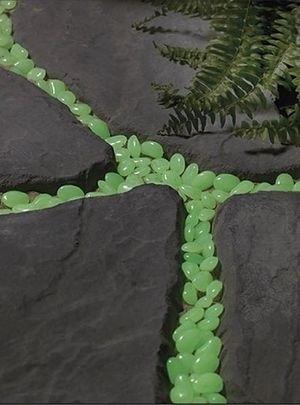 pátio jardim pedras fluorescentes