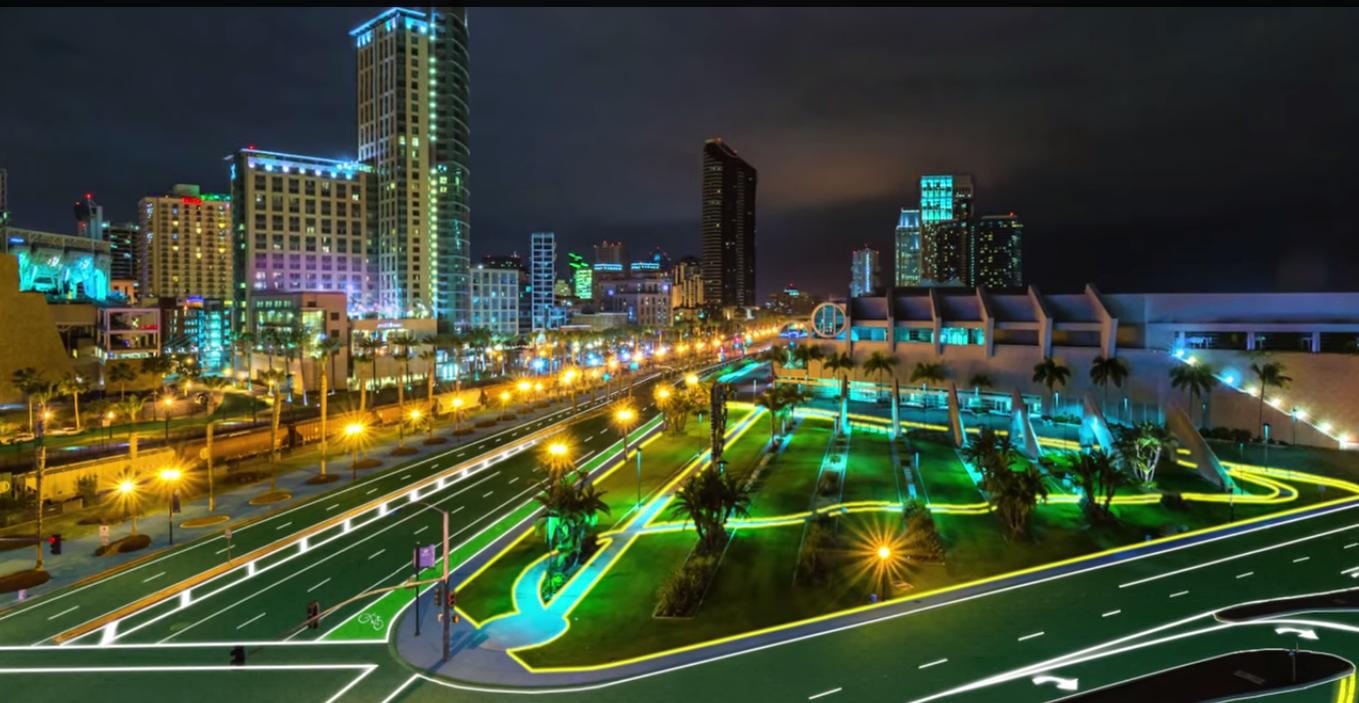solar roadways cidade estrada solar iluminação