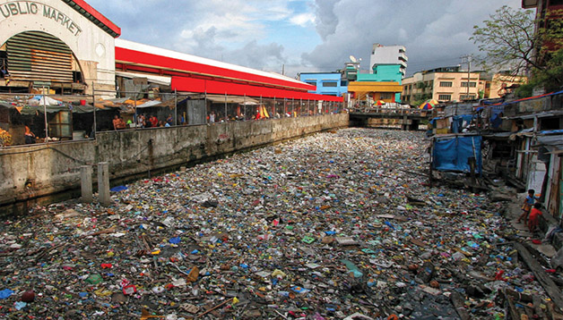 canal poluição lixo rio poluído