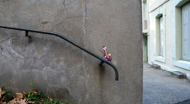 creative-interactive-street-art-Calvin & Hobbes-arte urbana