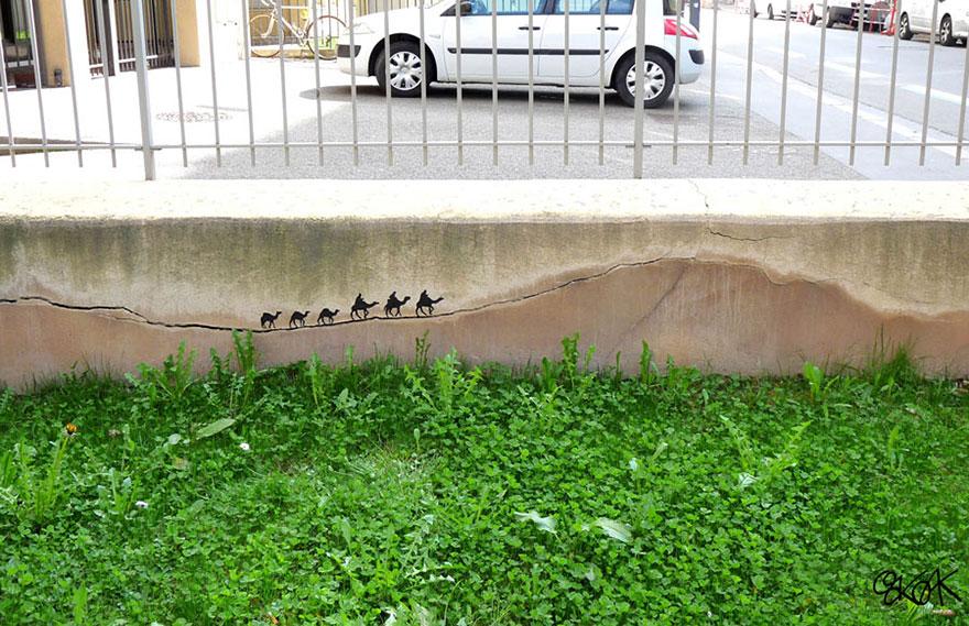 creative-interactive-street-art-caravana camelos dormedários