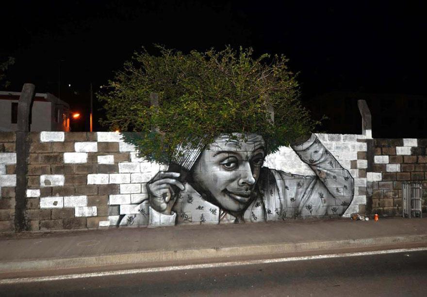 creative-interactive-street-arte urbana cabelo árvore