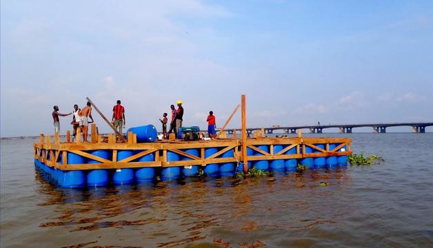 escola madeira flutuante nigéria construção
