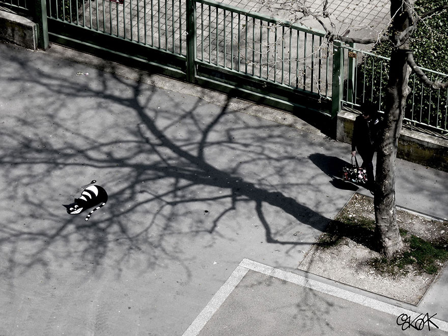 arte urbana gato oakoak
