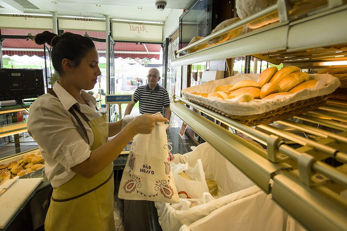 pão padaria saca de pano tecido