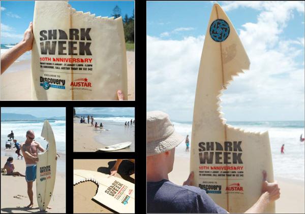 campanha de marketing guerrilla documentário tubarões dicovery channel