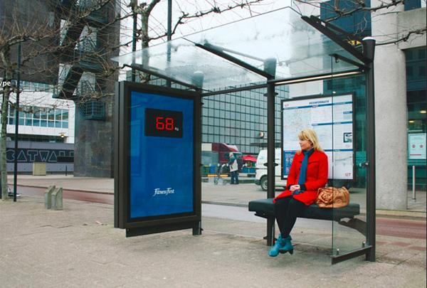 fitness camapanha de publicidade em paragem de autocarro
