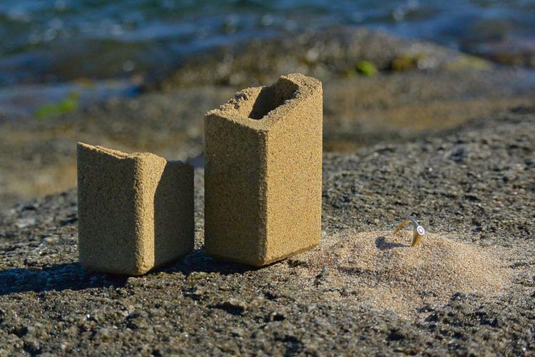caixa para anel de noivado original areia