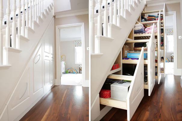 Ideias para poupar espaço arrumação escadas