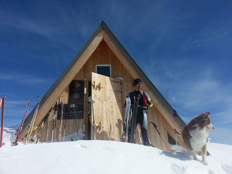 cabana de abrigo alpes inverno neve ski