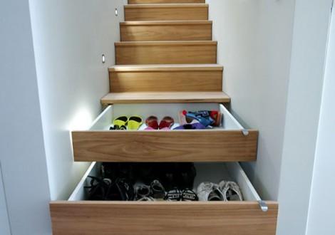 gavetas debaixo das escadas casas pequenas