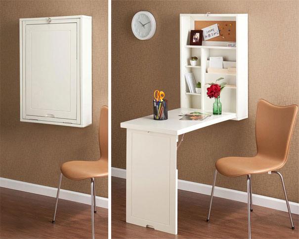 mesa que se arruma na parede Ideias para poupar espaço em casas pequenas