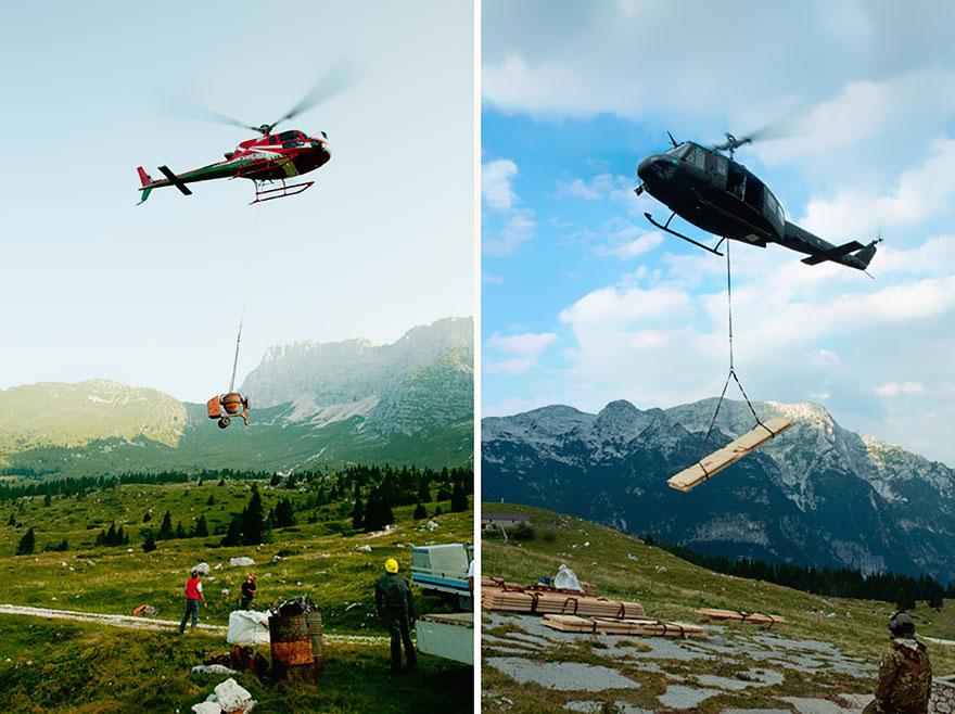 montanha cabana de abrigo construção helicoptero