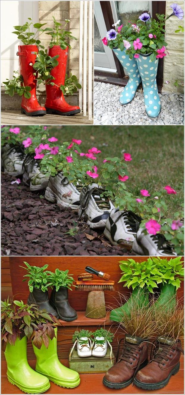 botas de borracha vasos de flores