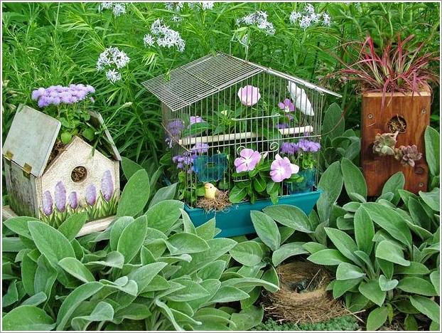 jardim simples vasos casas de pássaros gaiola