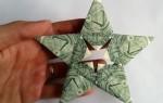 nota dobrada em estrala origami