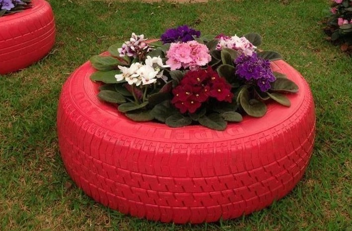 pneus vasos plantas jardim