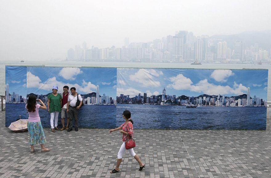 hong kong linha do horizonte smog turistas