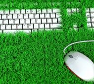 sustentável no trabalho teclado verde