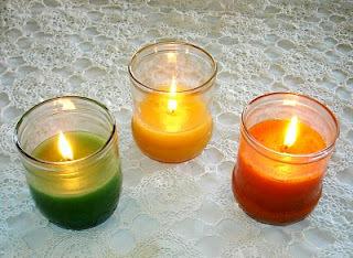 velas feitas com óleo de cozinha usado