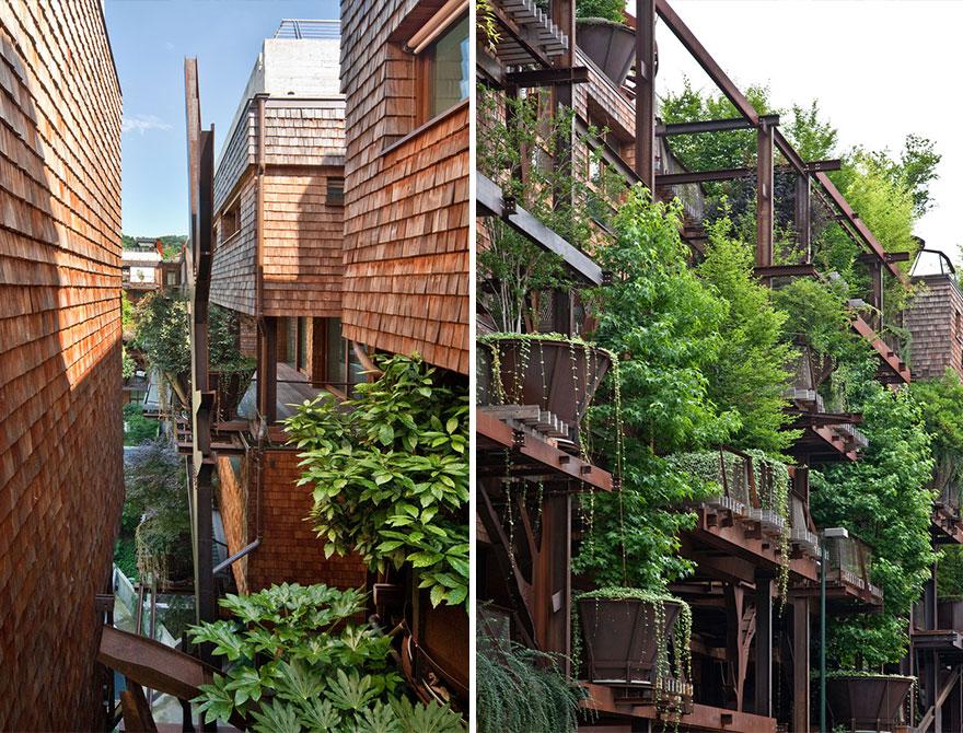 """Na cidade de Turim, em Itália, foi erguido um edifício muito especial, uma casa na árvore urbana que se chama """"25 Verde"""". O arquiteto responsável pelo projeto chama-se Luciano Pia e é italiano."""