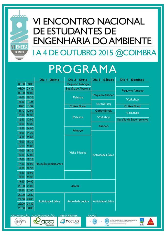 programa VI Encontro Nacional de Estudantes de Engenharia do Ambiente