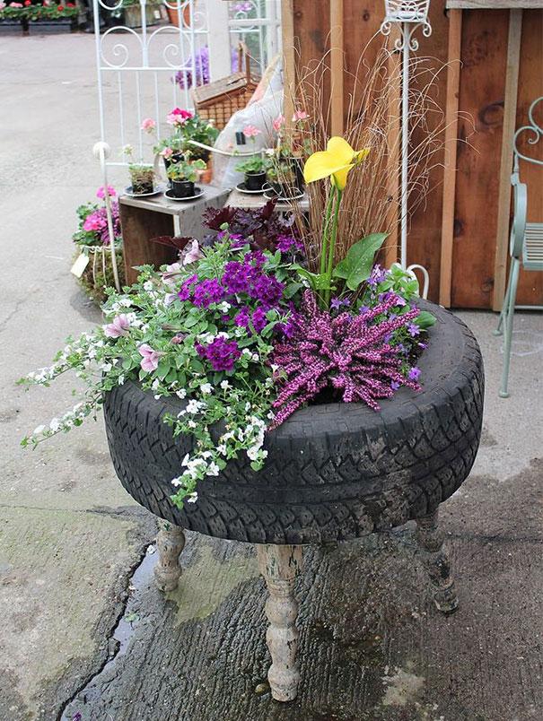 floreira pneu usado