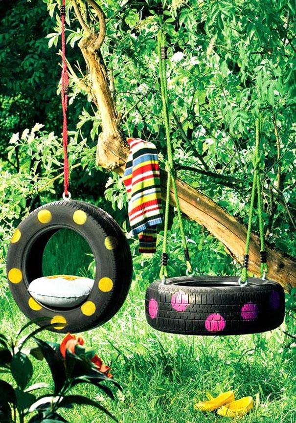reutilizar pneus baloiço