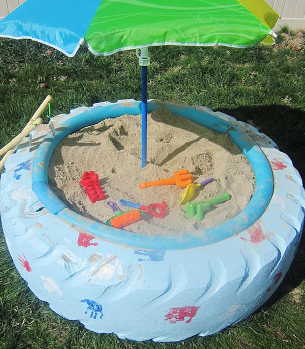 reutilizar pneus usados brincar caixa areia