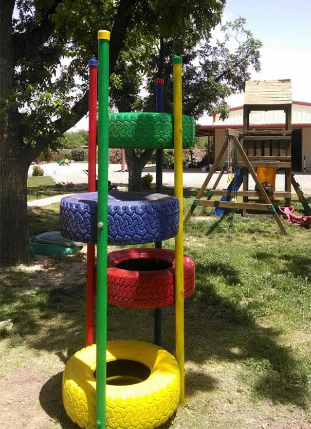 reutilizar pneus usados parque crianças