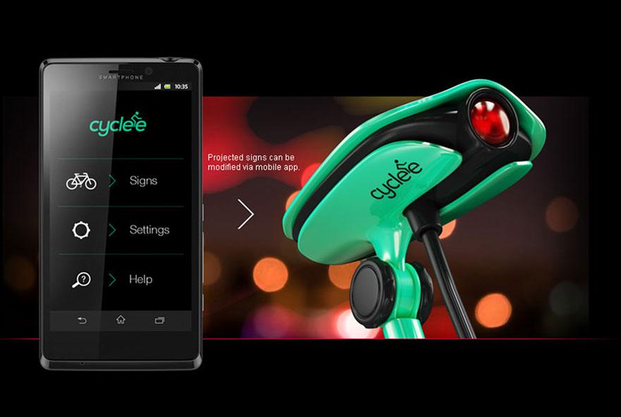 Para aumentar a segurança dos ciclistas, especialmente à noite quando a visibilidade é menor, Elnur Babayev, um designer do Azerbaijão, criou um dispositivo chamado Cyclee que projeta sinais luminosos nas costas do ciclista.