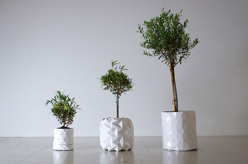 Um vaso que cresce com as plantas foi concebido no atelier de design londrino Ayaskan, por Bike e Begum Ayaskan.