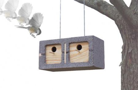 bloco cimento casa para pássaros