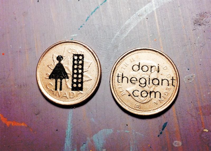 dori the giant cartões de visita moedas