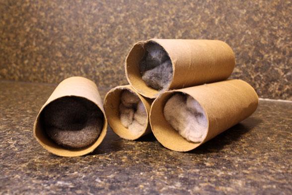 acendalhas fogueira rolos de papel higiénico
