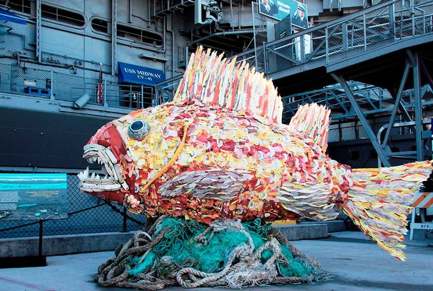 peixe arte resíduos