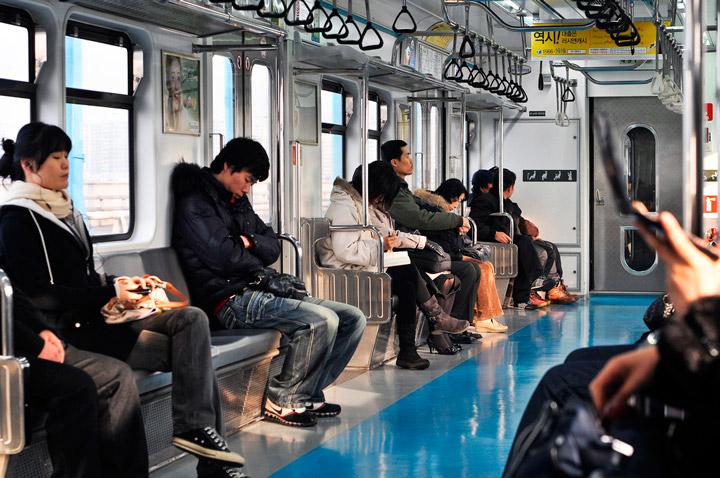 Seul coreia do sul metro assentos aquecidos
