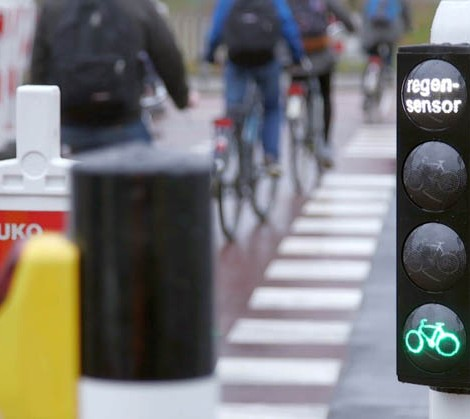 semaforo chuva ciclistas roterdão