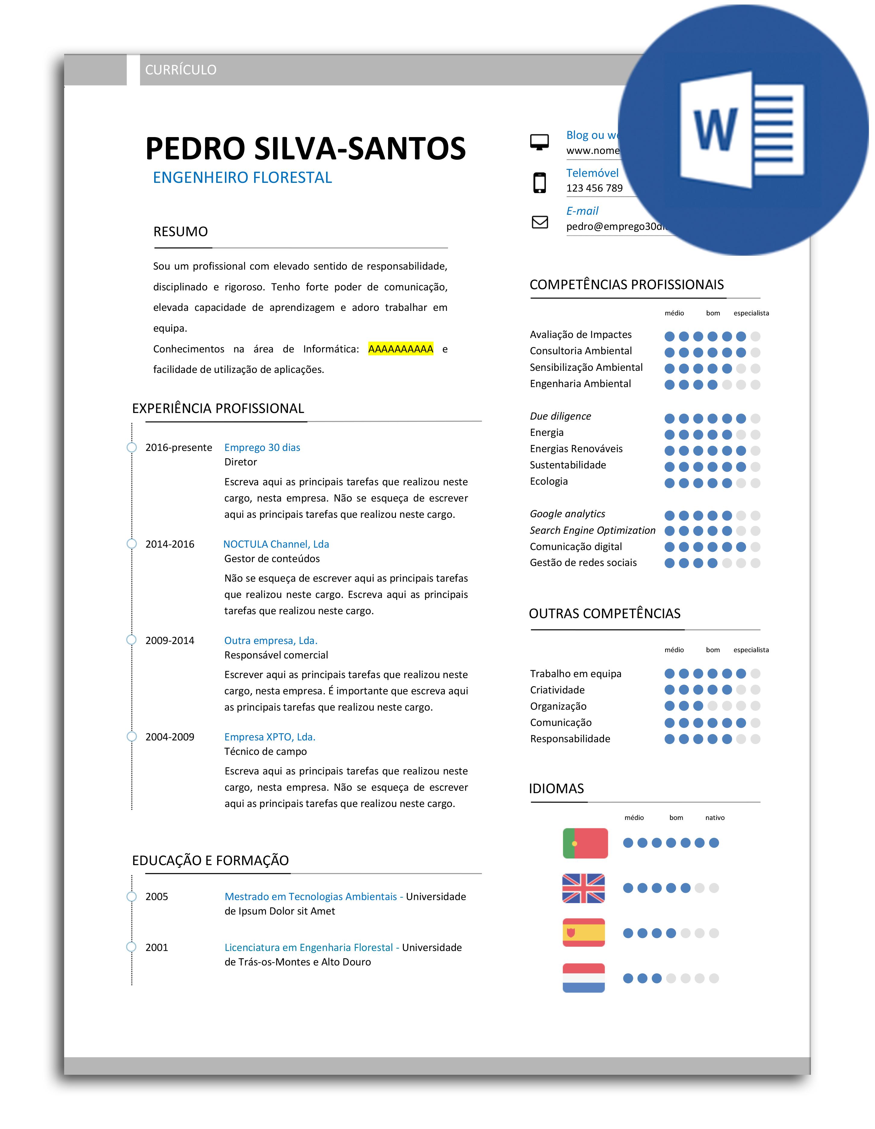 Modelo de currículo editável em Word