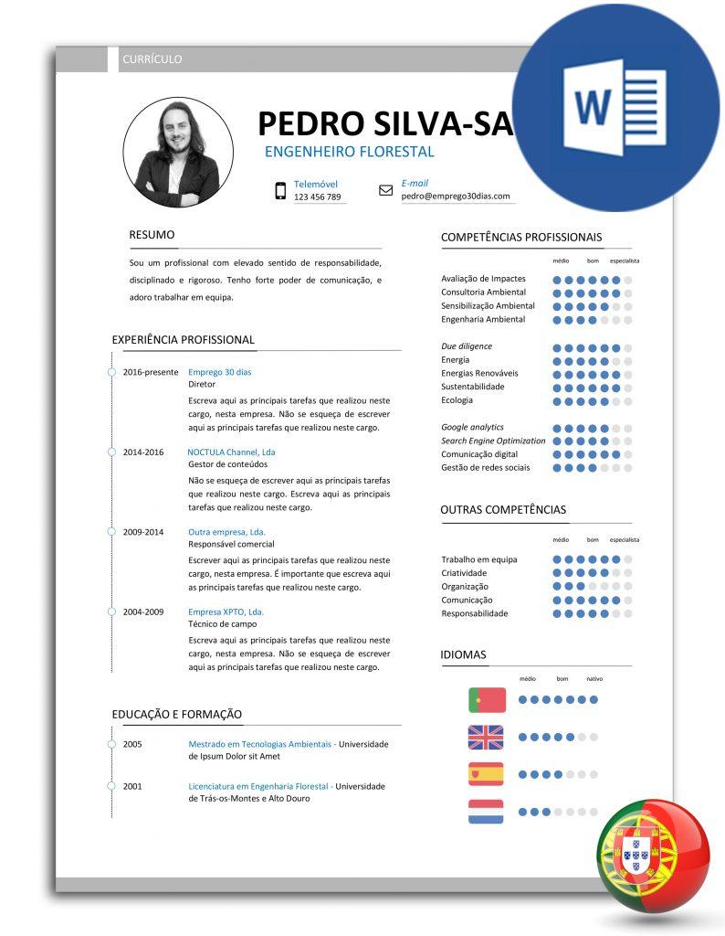 CV-PSS-E30D-007 - modelo de currículo editável em Word