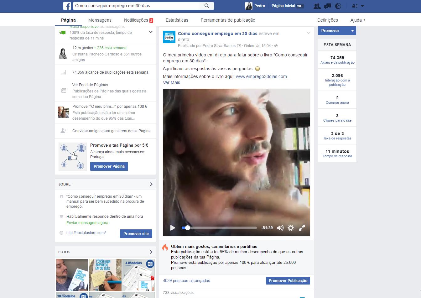 Videos em direto no Facebook
